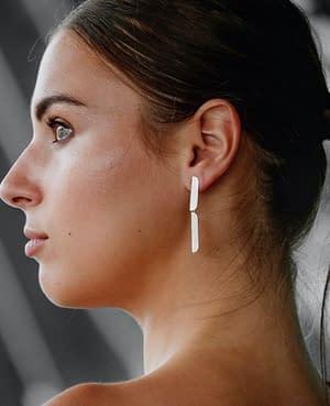 boucles d'oreilles pliage double argent