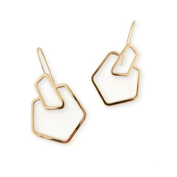 boucles d'oreilles géo carré laiton doré
