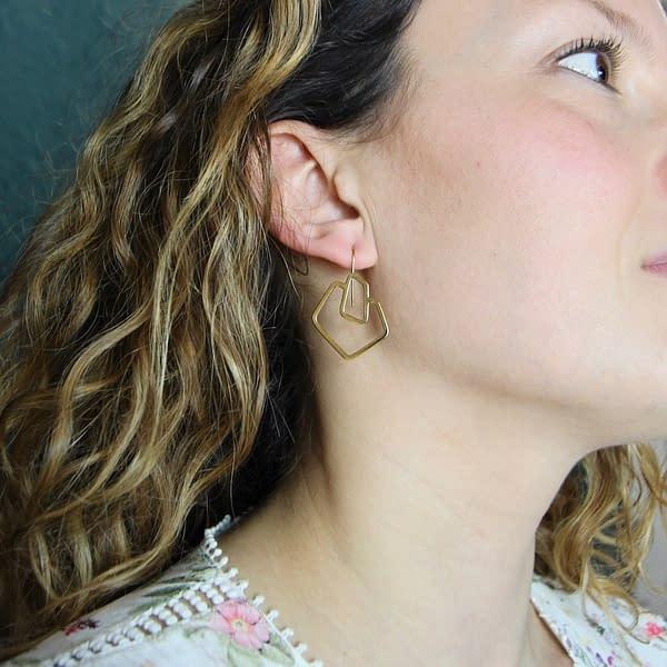 boucles d'oreilles géo carré