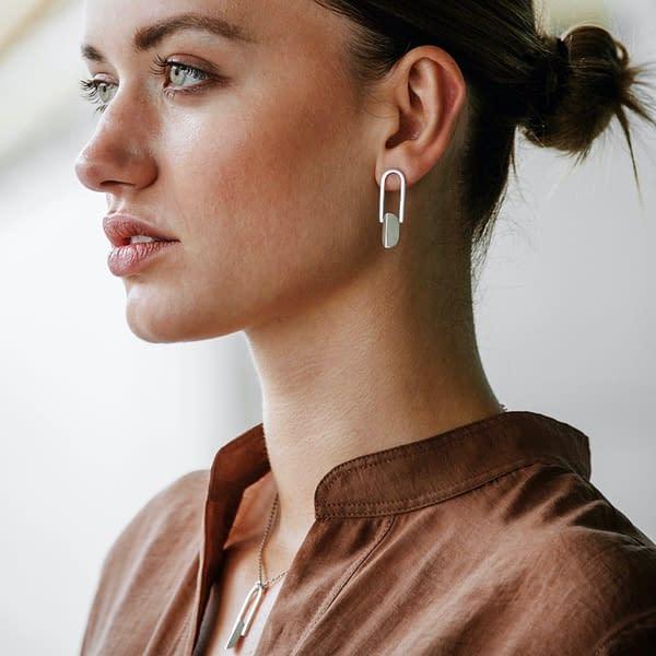 boucles d'oreilles pliage cadre argent