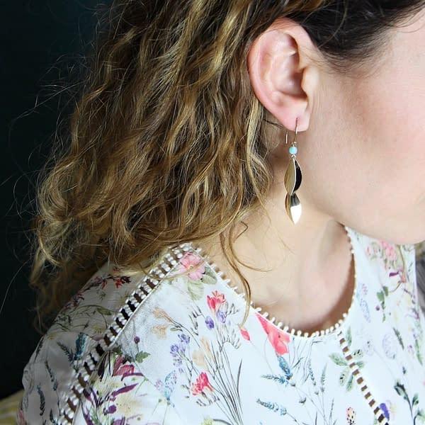 boucles d'oreilles pliage pétale double amazonite