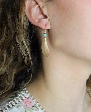 boucles d'oreilles pliage pétale amazonite