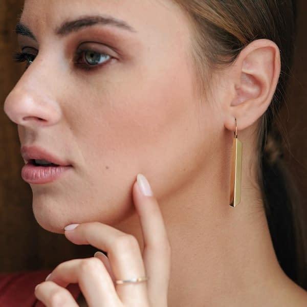 boucles d'oreilles scala long laiton doré